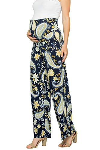 My Bump Women's Maternity Casual Bohemian Damask Palazzo Pants W/Tummy Control(Navy_Yellow SKBG, Large)