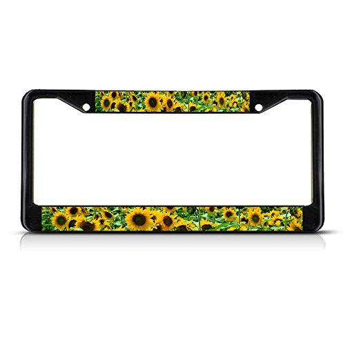 SUNFLOWER FLOWERS Black Metal License Plate Frame Tag Holder (License Flower Plates)