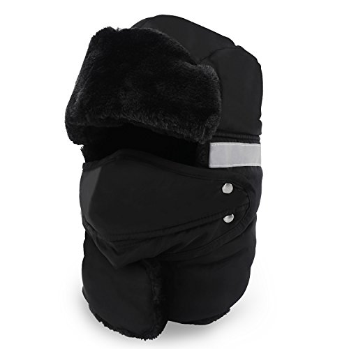 - DEWANG Winter Trooper Trapper Hat Russian Style Warm Hat with Night Reflective Strip Windproof Face Mask and Ear Flap Chin Strap, Unisex, Black