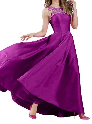 Langes Fuchsia Festlichkleider Partykleider Ballkleider Charmant Damen 2018 Promkleider Linie Satin Abendkleider Neu A HxnIp7Zqw