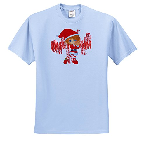 Doreen Erhardt Christmas Collection - Crayon Styled Elf In Red With Scribbles Kid Friendly Holiday - T-Shirts - Toddler Light-Blue-T-Shirt (2T) -