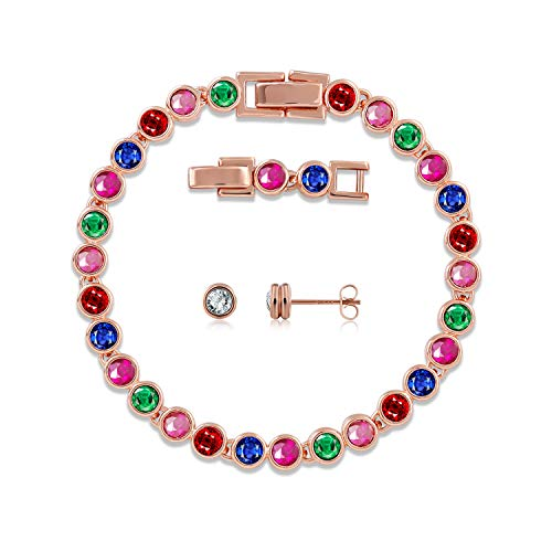 GEORGE · SMITH Adjustable Classic Jewelry Set 925 Sterling Silver Tennis Bracelets Stud Earrings Sets with Swarovski Crystals, for Women Hypoallergenic (Multicolor)