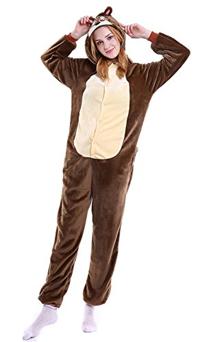 [YACHUN Uinisex Adult Pajamas Onesie Kigurumi Cosplay Costumes Animal Jumpsuit chipmunk-XL] (Toothless Costume Tail)