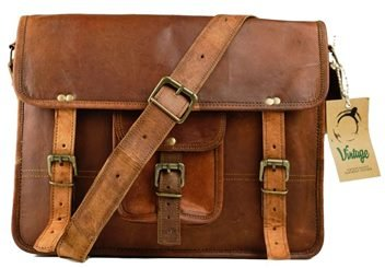 Leather Vintage Crossbody Messenger Courier Satchel Bag Gift Men Women ~ Business Work Briefcase Carry Laptop Computer Book Handmade Rugged & Distressed ~ Everyday Office College School (11 x 15) by ULS BAG (Image #3)