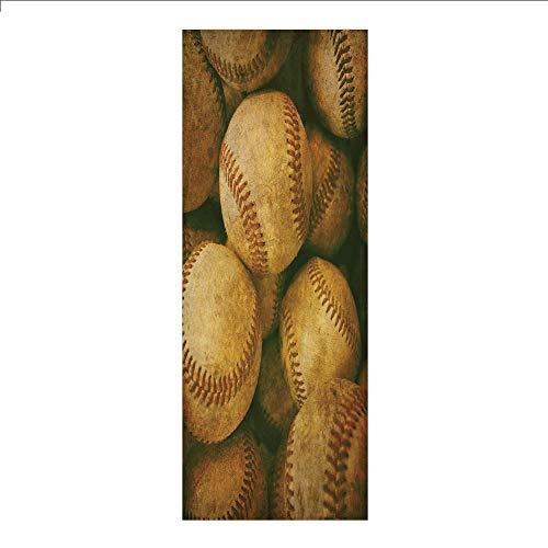 Decorative Privacy Window Film/Vintage Baseball Backgorund American Sports Theme Nostalgic Leather Retro Balls Artwork/No-Glue Self Static Cling for Home Bedroom Bathroom Kitchen Office Decor Brown
