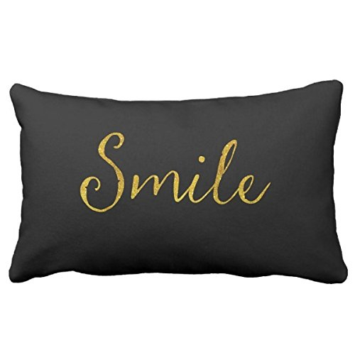 Smile Gold Faux Glitter Metallic Sequins Quote Pillowcase Cushion Cover