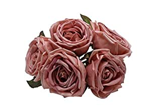 Artificial Plants Rose Flowers 5/Heads Bridal Wedding Party Decor Bouquet Real Touch Artificial Flower Bunch