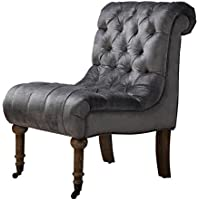 TOV Furniture The Vivi Collection Comfortable Velvet Fabric Upholstered Wood Living Room Accent Slipper Chair, Gray