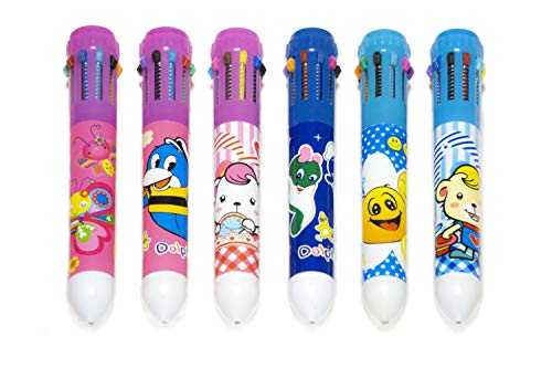 10 In 1 Multicolor Pens, Pack Of 6 - 10 Color Retractable Pens With Fun Designs For Kids And Adults - Multicolored Pens For School Supplies, Home, Office Supplies      ]()