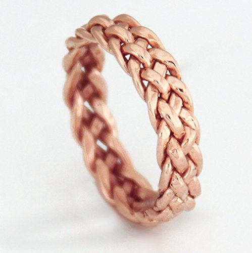 46158be0b Amazon.com: Handmade 14K Rose Gold Wedding Band Women, Wide Braided Ring  (6mm) Available in Sizes 3-10: Handmade