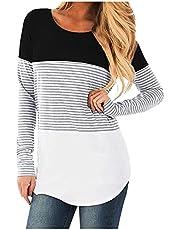 Women's Color Block Nursing Tops Pregnant Long Sleeve T Shirts Striped Maternity Breastfeeding Blouse