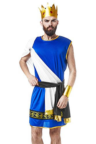 Greek Olympian Costume (Olympian King Zeus Ancient Greek God Lord of Thunder Dress Up Halloween Costume (Small/Medium))