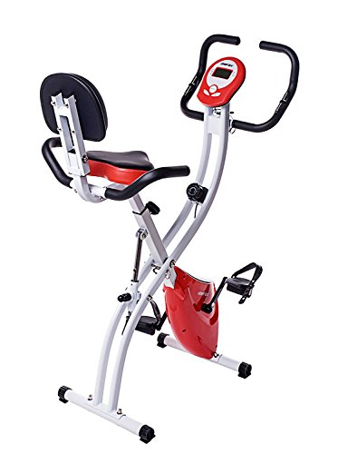 Merax Folding Adjustable Magnetic Upright Exercise Bike Fitness Machine (Red)