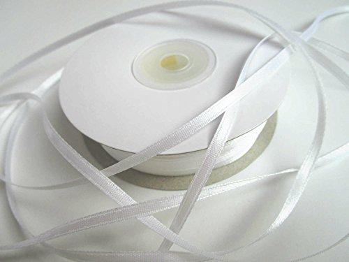 100 m Satin-Schleifenband in 3mm Breite (Weiss)