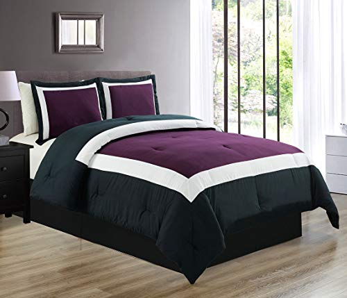 3-Piece All-Season Down Alternative Quilted Color Block TWIN Size Comforter Set- Hypoallergenic Summer Cooling Ultra Soft Bedding- Plush Microfiber Fill - Machine Washable (Purple, Black, White) (White Black Purple And Bedding)