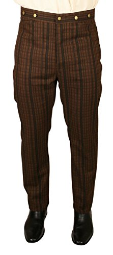 Historical Emporium Men's High Waist Bailey Cotton Striped Dress Trousers 44 (Bailey Mens Clothing)