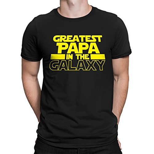 SpiritForged Apparel Greatest Papa In The Galaxy Men's T-Shirt, Black 3XL