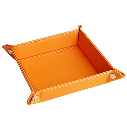 navor Leather Foldable Jewelry Catchall Key Phone Coin Valet Tray -Orange