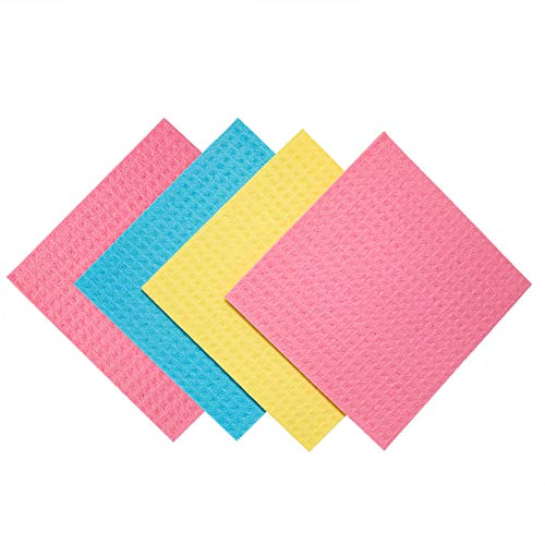 Paperless Kitchen Cleaning Cloth – Environmentally Friendly Cellulose Sponge Cloth and Paper Towel Alternative is Washable, Reusable and Biodegradable for Household and Kitchen Cleaning – 4 Pack