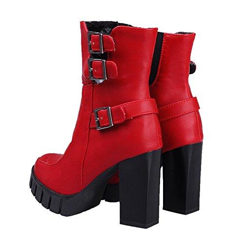 AmoonyFashion Womens Closed Toe High-Heels Solid Boots Red SR9MWuC
