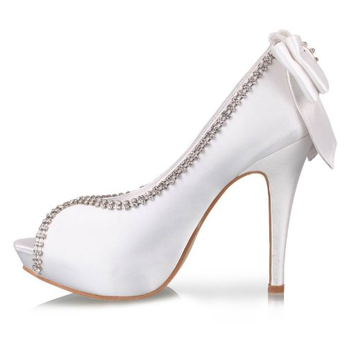 Minitoo TH13138 Damen High Heel Stiletto Glitzer Abstech Sexy Satin Abend Kleid Hochzeit-Sandalen Weiß