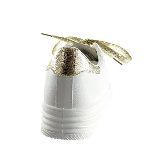 Angkorly - Zapatillas de Moda Deportivos Tennis zapatillas de plataforma low mujer piel de serpiente brillante brillantes Talón Plataforma 3.5 CM - Oro