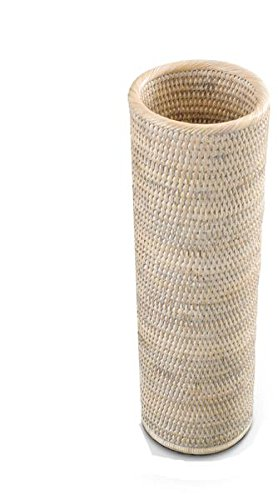 DWBA Malacca Round Free Standing Toilet Paper Holder Bathroom Storage - Rattan (Light Rattan) by DWBA Bath Collection