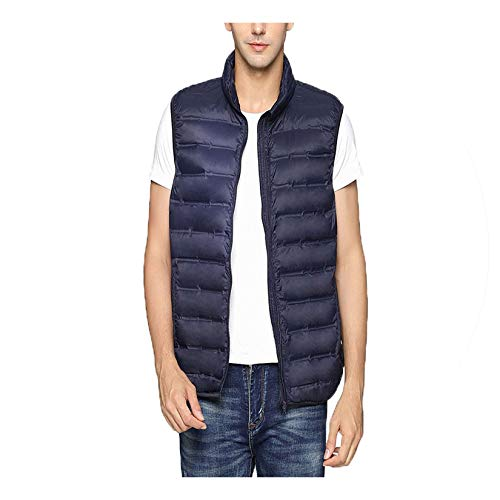 (Ultra-Thin Vest for Men Spring Autumn Winter Warm Sleeveless Collar Lightweight Vest Big Size,Navy Blue,L)