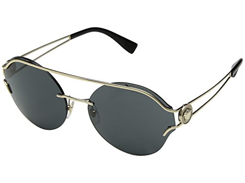 Versace Womens Sunglasses Gold/Grey Metal - Non-Polarized - 61mm by Versace