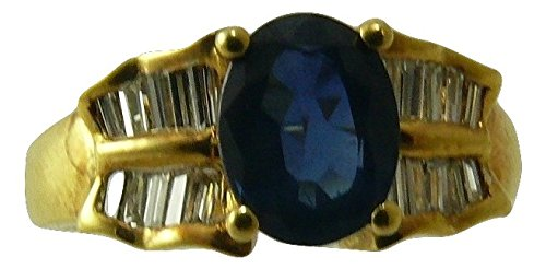 Sapphire Ring 1.32ct 18k Yellow Gold with Diamonds 035ct