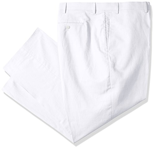 Cubavera Men's Big and Tall Linen-Cotton Herringbone-Textured Pant, Bright White/White, 52W X 30L (Big And Tall White Dress Pants)