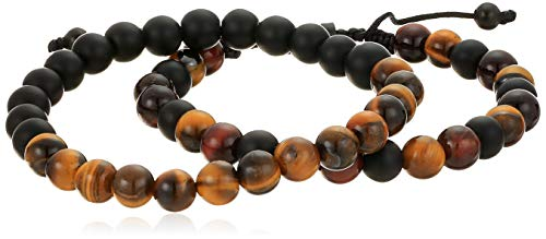 (Steve Madden Adjustable Men's Brown Simulated Tiger's Eye Beaded Stretch Bracelet Set in Black IP Plated Stainless Steel,)