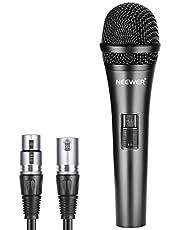 Neewer Dynamische cardioïde microfoon met XLR stekker naar XLR vrouwelijke kabel. Stevige metalen constructie voor professionele muziekinstrumenten pick-up zang. Radio. Taal - zwart (NW-040)