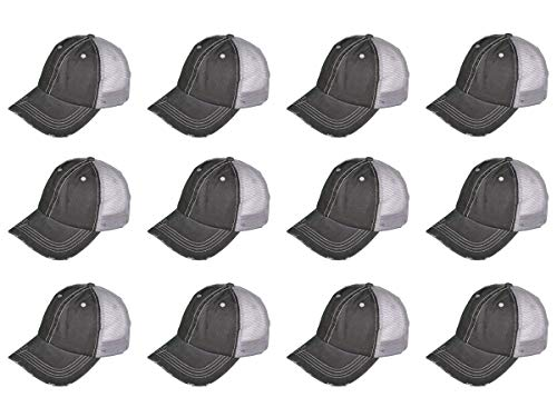 BK Caps Dozen Pack Wholesale Low Profile Unstructured Washed Cotton Trucker Hat