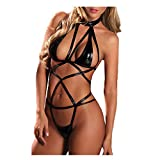 YOMXL Sexy Cross Bandage Lingerie,Women Halter Open Cup Bra Hollow Babydoll Teddy Girl Patent Leather Nightclub Uniform Elastic Mini Babysuit