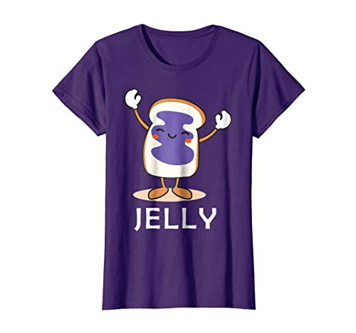 Womens Jelly Halloween Couples Bff tee Easy Costume Peanut Butter Small Purple