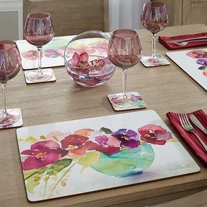 4 Cala Home Premium Hardboard Placemats Table Mats, Bowl of Blooms