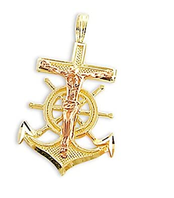 Amazon jesus cross anchor pendant 14k rose yellow gold charm jesus cross anchor pendant 14k rose yellow gold charm 100 inch aloadofball