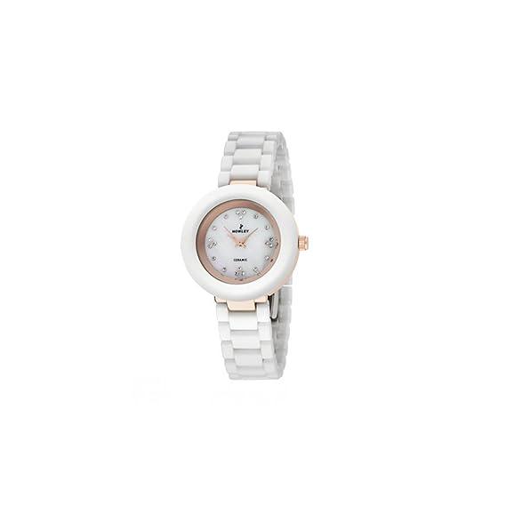 Reloj redondo de cerámica, color blanco y dorado para mujer Nowley-- movimiento de
