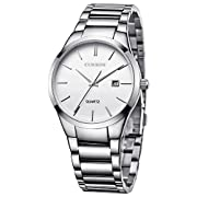 Amazon Lightning Deal 91% claimed: Voeons Men's Watches Auto Date Analog Silver Stainless steel Strap Casual Watch