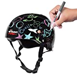 Wipeout Dry Erase Kids Helmet for Bike, Skate, and Scooter, Black, Ages 5+