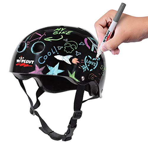 Wipeout Dry Erase Kids Helmet for Bike, Skate, and Scooter, Black, Ages 8+