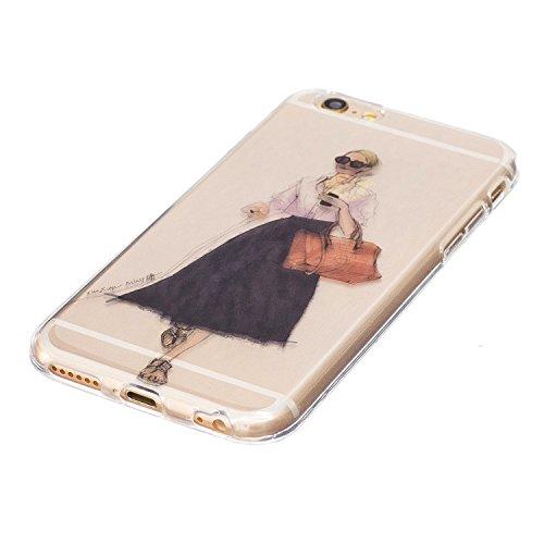 iPhone 6 Plus Coque Fashion girl Premium Gel TPU Souple Silicone Transparent Clair Bumper Protection Housse Arrière Étui Pour Apple iPhone 6 Plus / 6S Plus + Deux cadeau