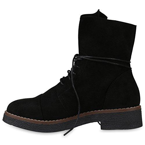 Stiefelparadies Damen Schnürstiefeletten Leder-Optik Stiefeletten Blockabsatz Boots Glitzer Schuhe Schnürschuhe Übergrößen Flandell Schwarz Basic