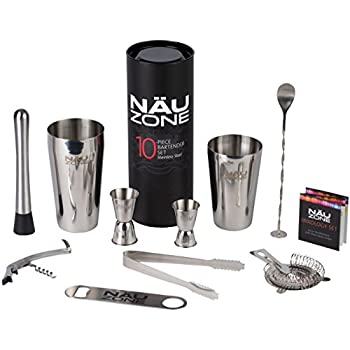 Bartending Kit: Boston Shaker Bar Set | This Barware Set Includes Bar Kit Supplies and Bartender Tools ideal for Home Cocktail Drink Mixing