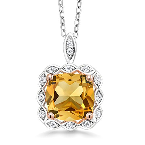 (Gem Stone King Sterling Silver Yellow Citrine Pendant Necklace 3.17 cttw Cushion Cut Gemstone Birthstone with 18 Inch Silver Chain)