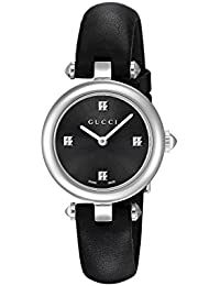 Swiss Quartz Stainless Steel and Leather Dress Black Women's Watch(Model: YA141506)