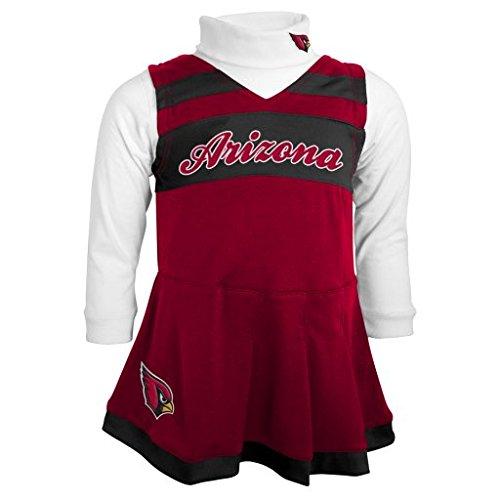 NFL Arizona Cardinals Girls Cheer Jumper Dress with Turtleneck Set, Cardinal, Medium