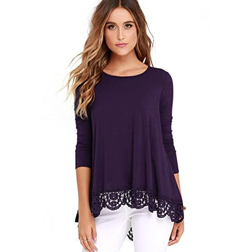 Cheap FISOUL Women's Tops Long Sleeve Lace Trim O-Neck A-Line Tunic Tops for sale