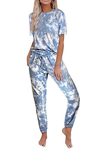 Fixmatti Women Casual 2 Piece Outfit Leisure Set Sweatsuits Tracksuit Set (Small, Tie- Dye Blue)